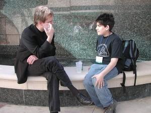 14 歲的 Aaron Swartz 跟 Lawrence Lessig 聊天