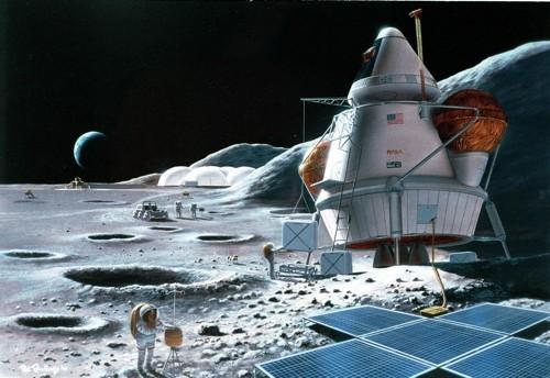 使用太阳能的月球基地