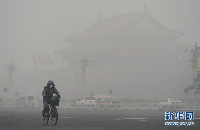2013年1月北京爆發的極重度污染事件。圖片來源:新華網