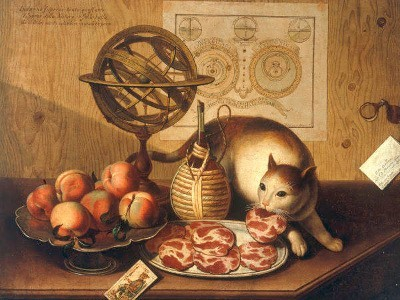 "Still Life With Cat"" by Sebastiano Lazzari, 18th century"