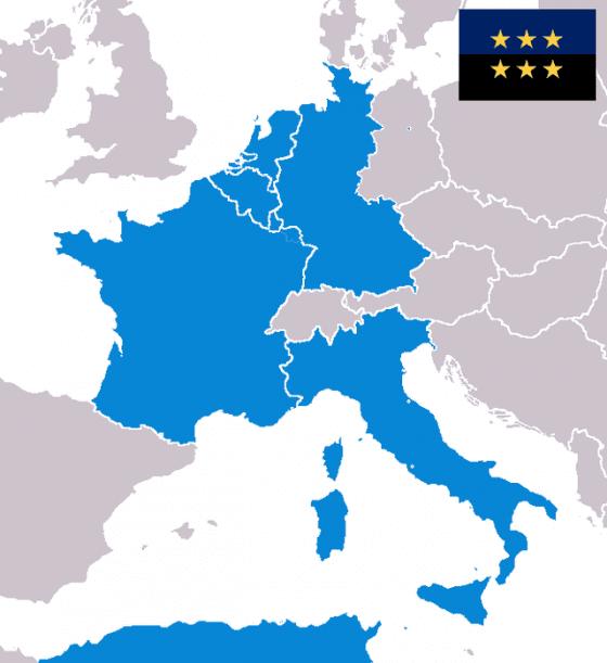 歐洲煤鋼共同體(ECSC)被認為是歐盟的前身,創始會員國有法國、比利時、西德、義大利、荷蘭和盧森堡。 —Public Domain