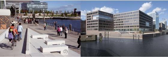 HafenCity河畔的人行道及腳踏車道規定須高於海平面4-5.5公尺;建築物與街道則須高於7.5-8公尺 (圖片來源/worldchanging)
