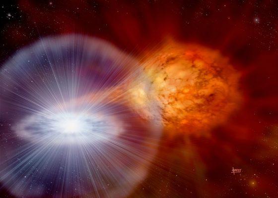 新星模型示意圖。Credit:David A. Hardy (www.astroart.org )
