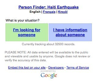 2010 海地大地震時Google推出之Person Finder服務 (Image from : Wikipedia)