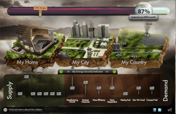 英國的能源模擬器從紙卡遊戲、網路圖表,演變為帥氣如電影《阿凡達》漂浮島的情境模擬。