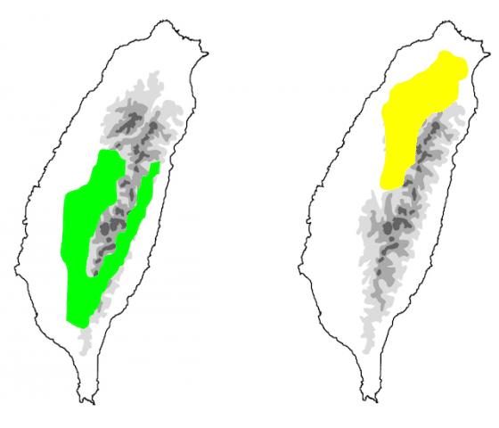 圖12:左為駒井氏鈍頭蛇分布示意圖,右為泰雅鈍頭蛇分布示意圖。