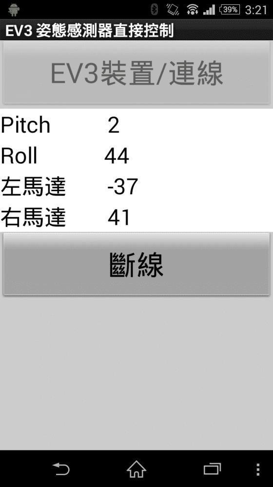 圖5b 手機朝左方傾斜44 度,Y 軸向姿態發生變化(roll),機器人原地左轉,左右馬達電力(-37, 41)。