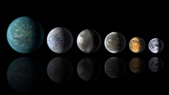 從左至右:Kepler-22b、Kepler-69c、這次的主角Kepler-452b、Kepler-62f、Kepler-186f,最右邊的是地球。