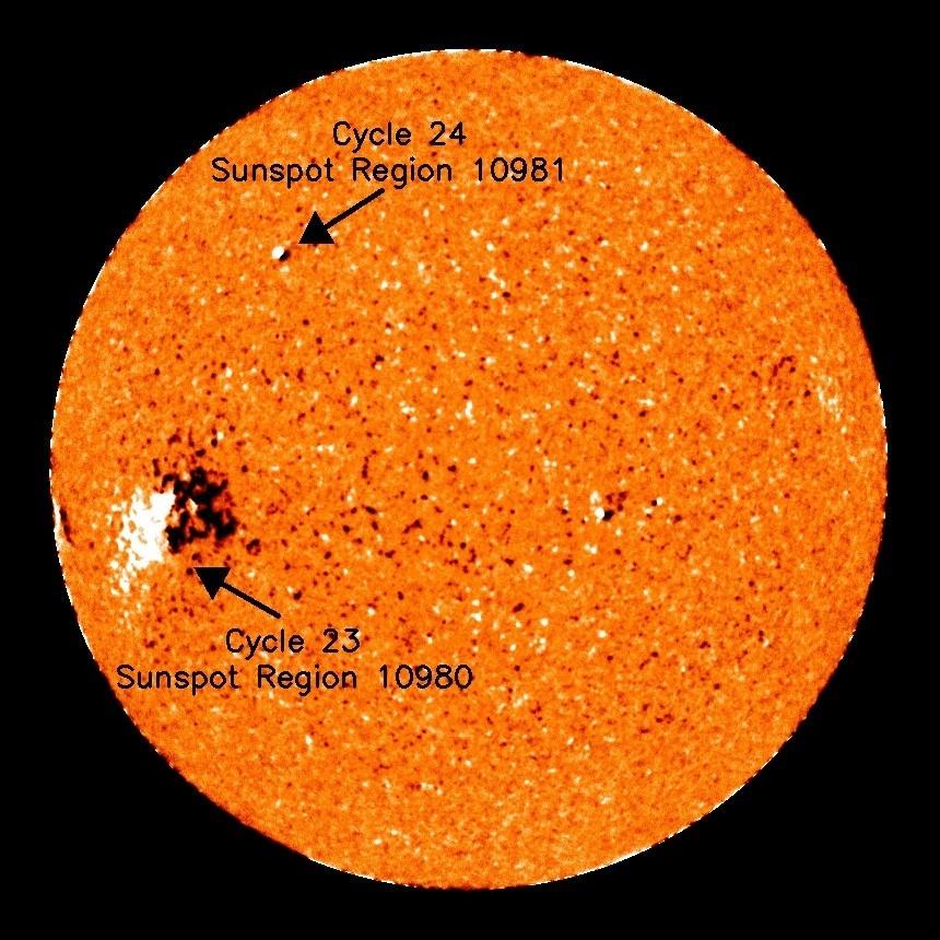 23與24太陽週期活動的太陽黑子