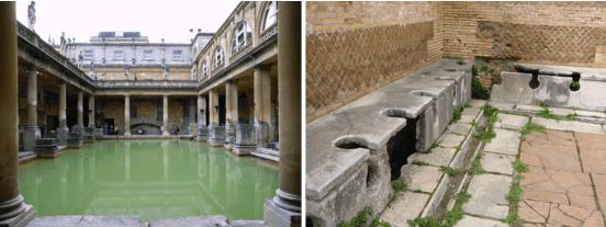 羅馬時期的建築,左為浴池,右為公共廁所。Rome from wikimedia