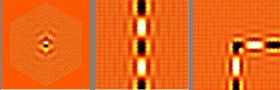 (左)點缺陷應用於共振腔(中)線缺陷應用於波導(右)光波能量在直角轉彎的光子晶體波導中的分佈情形。
