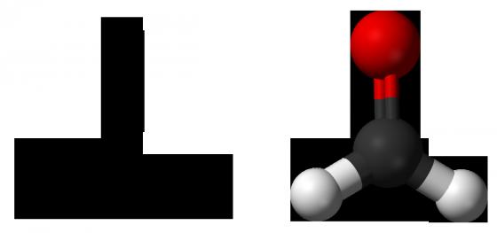 甲醛的結構示意圖(左)與分子模型(右)。黑、白、紅色球分別代表碳、氫、氧原子。來源:維基百科。