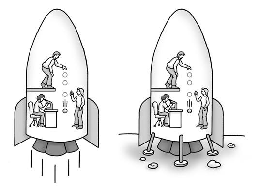 我們無法分辨在地球上、或在加速行進的太空船中,有什麼不同(圖片來源)