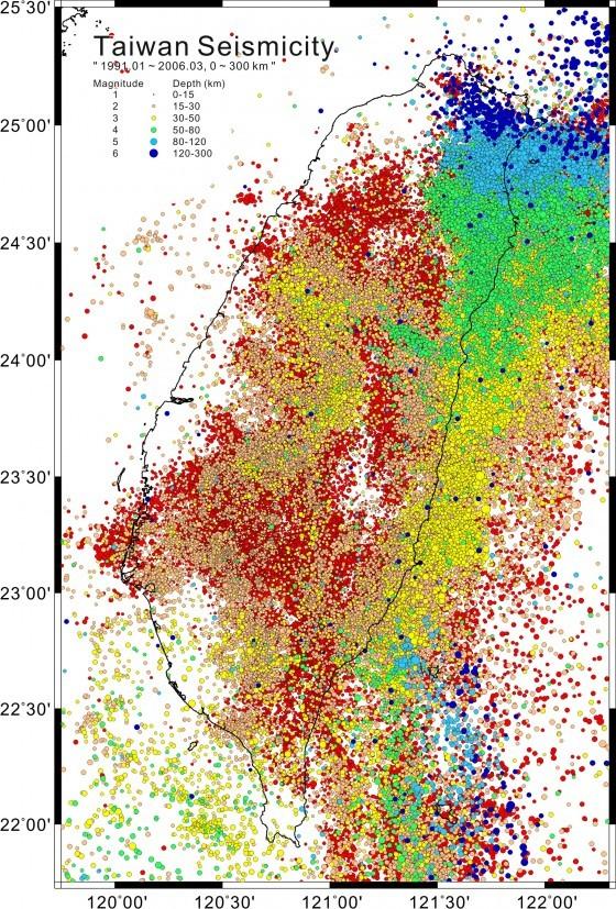 台灣地震分布,作者為維基用戶Hsu.shihhung