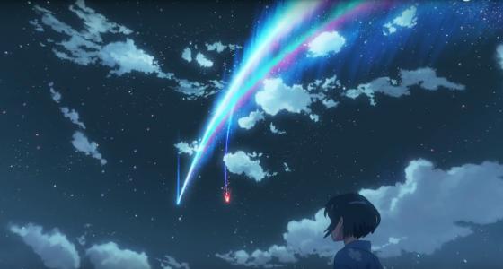 《你的名字》中出現的彗星。圖/電影預告片截圖
