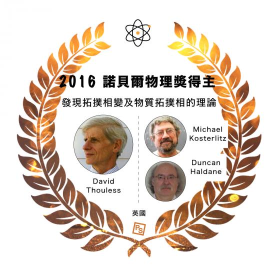 2016 諾貝爾物理學獎得主: 美國華盛頓大學名譽教授杜列斯(David J. Thouless),獲 1/2 獎金 美國布朗大學物理系教授科斯特利茲(J. Michael Kosterlitz),獲 1/4 獎金 美國普林斯頓大學物理系教授哈爾丹(F. Duncan M. Haldane),獲 1/4 獎金