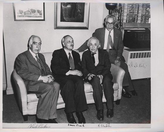 Bohr with James Franck, Albert Einstein and Isidor Isaac Rabi (LR)