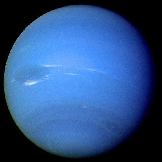旅行家二號所拍攝到的海王星照片。圖/Wikimedia Commons