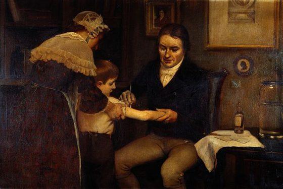Edward Jenner 示範兒童疫苗接種。圖/wiki