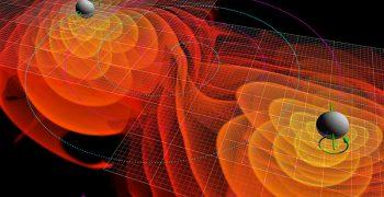 相鄰黑洞的靠近引發重力波的漣漪。圖/Public Domain