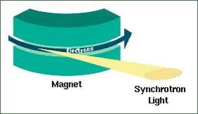 將接近光速的帶電粒子利用電磁場偏轉時,就會沿著原運動切線方向產生同步輻射光。圖/By R. Bartolini - John Adams Institute, CC BY 3.0, https://commons.wikimedia.org/w/index.php?curid=15587607