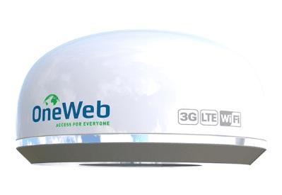 固定在建築屋頂的接收器。圖/oneweb